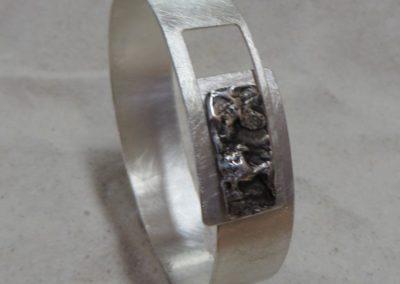 Armreif in Silber, breit